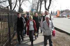 Evgeniya Chirikova near Krasnodar airport together with the delegation from Moscow Stock Photo