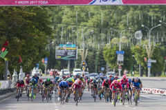 Evgeny Korolek from Belarus Crossing the Finish Line in Front of Peloton During International Road Cycling Competition Grand Prix Royalty Free Stock Image