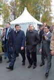Evgeny Kuyvashev, Dmitry Medvedev and Oleg Sienko. NIZHNY TAGIL, RUSSIA - SEP 26: Governor of Sverdlovsk region Evgeny Kuyvashev, Prime Minister Dmitry Medvedev Stock Photos