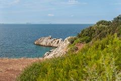 Evia海岛海岸 免版税图库摄影