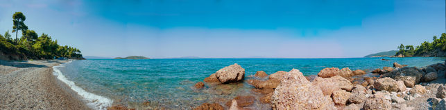Evia Beach Panorama 2 Stock Images