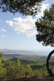 Evia, Greece. North of the Greek Island in the pine forests. Looking back on Paralia Politikon stock photos