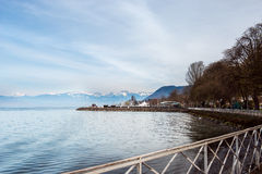 Evian. Embankment in Evian surrounded by Alps Stock Photo