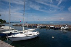 Port of Evian-les-Bains on the banks of Leman lake ,France Stock Photo