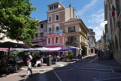 Evian gataplats royaltyfri foto