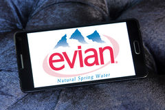 Evian mineral water company logo. Logo of Evian mineral water company on samsung mobile Stock Photography