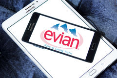 Evian mineral water company logo. Logo of Evian mineral water company on samsung mobile on samsung tablet Royalty Free Stock Images