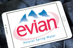 Evian mineral water company logo. Logo of Evian mineral water company on samsung tablet Royalty Free Stock Photos