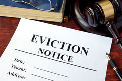 Eviction notice and gavel. Royalty Free Stock Images