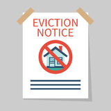 Eviction notice, vector. Eviction notice, white sheet on wall. Stop sign at the entrance. Do not open the door. Form vector illustration flat design. Isolated Stock Photography