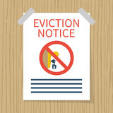 Eviction notice, vector. Eviction notice, white sheet on wall. Stop sign at the entrance. Key in keyhole on door prohibited. Do not open the door. Form vector Royalty Free Stock Photography