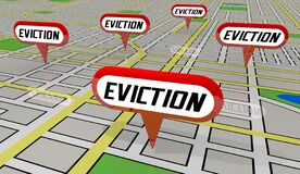 Free Evictions Tenants Renters Evicted Removed From Homes Map Pin Locations 3d Illustration Stock Image - 192185891