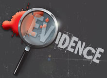 Evidence. A landscape format illustration of blood spatters on a slate grey grunge style background, with a magnifying glass highlighting the word evidence Stock Photography