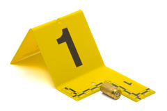 Evidence. Marker with bullet casing on white background Royalty Free Stock Image