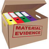 Evidence. Folders with evidence in a cardboard box. Vector illustration Stock Images