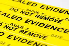 Evidence. A close up of evidence tags Stock Photo
