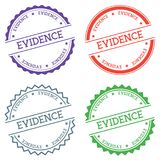 Evidence badge isolated on white background. Flat style round label with text. Circular emblem vector illustration Stock Photos