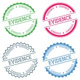 Evidence badge isolated on white background. Flat style round label with text. Circular emblem vector illustration Royalty Free Stock Images