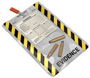 Evidence Bag. 3D illustration on white, of an evidence bag containing three bullet casings. Illustration not based on any specific make of bag Stock Photos