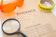 Evidence bag with forensic tool for crime scene Stock Photo