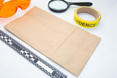 Evidence bag and tool for crime scene Stock Image