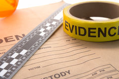 Evidence bag and tool for forensic in crime scene. Evidence bag with marker tape and ruler for forensic in crime scene investigation royalty free stock photo
