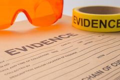 Evidence bag and tool for forensic in crime scene Stock Image