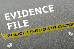 Evidence File concept. 3D illustration of EVIDENCE FILE title on the ground in a police arena Stock Images