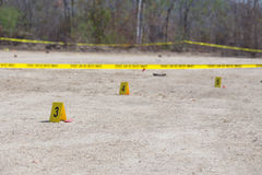Evidence number tag in crime scene Stock Images