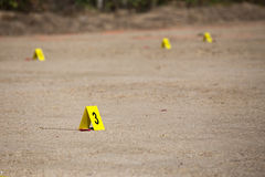 Evidence number tag in crime scene Royalty Free Stock Image