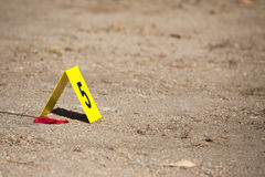 Evidence number tag in crime scene Stock Photography