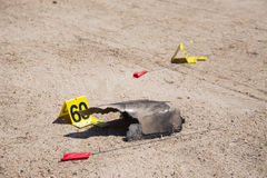 Evidence number tag and evidence in crime scene Stock Image