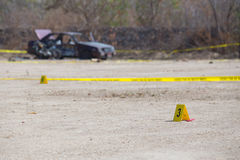 Evidence number tag in  explosion  vehicle  crime scene Royalty Free Stock Photo