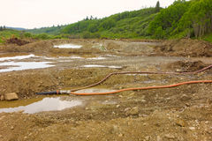 Evidence of placer mining at a small claim in the yukon territories Royalty Free Stock Photography