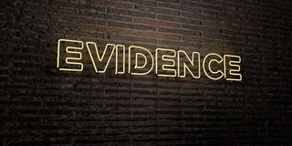 EVIDENCE -Realistic Neon Sign on Brick Wall background - 3D rendered royalty free stock image. Can be used for online banner ads and direct mailers Stock Photo