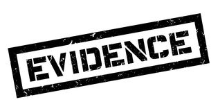 Evidence rubber stamp. On white. Print, impress, overprint. Proof of criminal violation, confirmation from scene of murder or robbery, crime Stock Images
