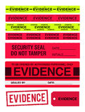 Evidence tapes, stamp, stickers and label. Vector illustration Evidence red and yellow tapes, stamp, stickers and label Stock Photos