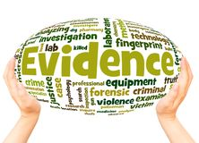 Evidence word cloud hand sphere concept. On white background royalty free stock photo