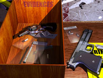 Evidences. A wooden box with the word evidences writes above, containing plastic bags with bullets, a syringe and a revolver. Next to the box, another firearm Royalty Free Stock Images