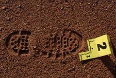 Evidencia de la impresión del zapato Fotografía de archivo libre de regalías