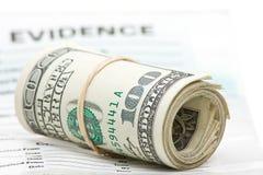 Evidencia del dinero Fotos de archivo libres de regalías
