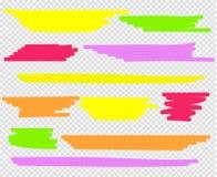 Evidenziatori variopinti messi Giallo, verde, porpora, rosso ed arancio illustrazione di stock