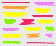 Evidenziatori variopinti messi Giallo, verde, porpora, rosso ed arancio illustrazione vettoriale