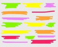 Evidenziatori variopinti messi Giallo, verde, porpora, rosso ed arancio royalty illustrazione gratis