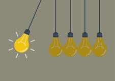 Evig rörelse med ljusa kulor stock illustrationer