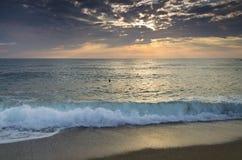 Evighet på bulgarisk sandig kust arkivbild