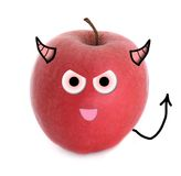 Evil apple. Over white background Stock Photo