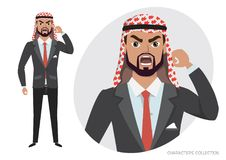 The evil Arab businessman character threatens with his hand. Angry men. Negative Emotions. Angry men. Negative Emotions. Bad Days. Bad Mood Stressful men Royalty Free Stock Photography