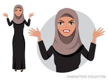 The evil Arab womenn character threatens with his hand. Angry arabian women. Negative Emotions. Bad Days. Bad Mood Stressful women. Muslim Woman wearing Hijab Stock Photos