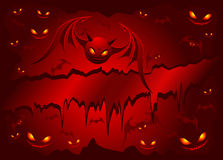 Evil bats on red background Stock Image
